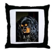 Cute Black and tan cavalier king charles Throw Pillow
