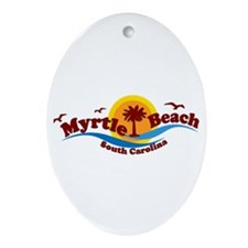 Myrtle Beach SC - Waves Design Oval Ornament