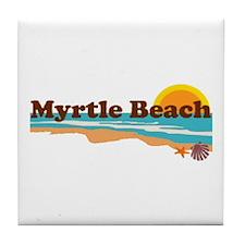 Myrtle Beach SC - Beach Design Tile Coaster