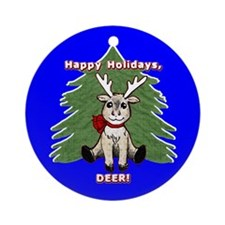 Happy Holidays DEER Ornament (Round)