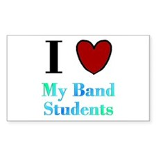 I Love My Band Students Rectangle Decal