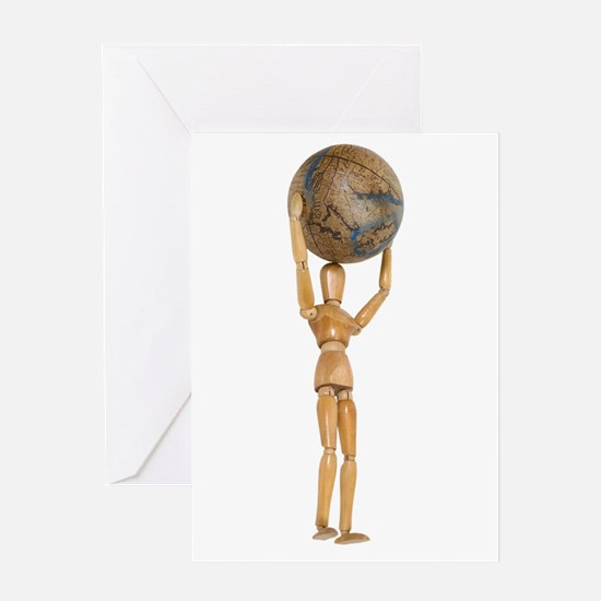 Atlas holds the world Greeting Card