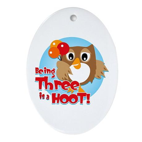 Owl 3rd Birthday Oval Ornament