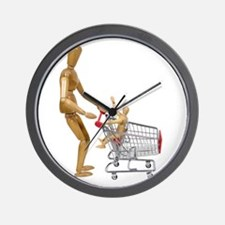 Family out shopping Wall Clock