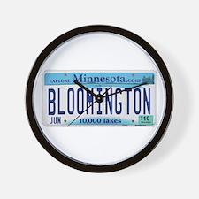 Bloomington License Plate Wall Clock