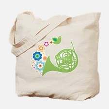 Retro Flower French Horn Tote Bag