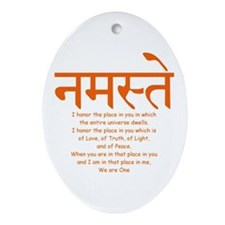 namaste we are one Oval Ornament