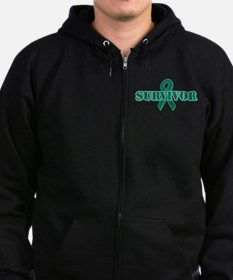 Green Ribbon Survivor Zip Hoodie (dark)