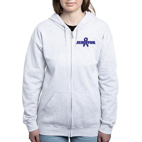Purple Ribbon Survivor Women's Zip Hoodie