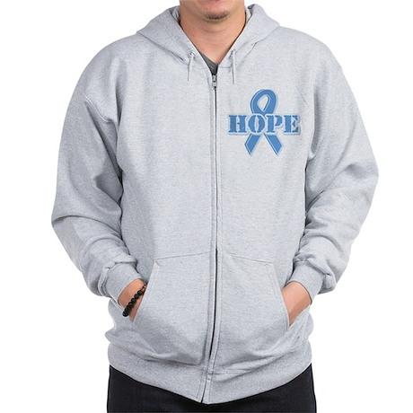 Lt Blue Hope Ribbon Zip Hoodie