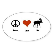 Peace Love New Hampshire Oval Decal