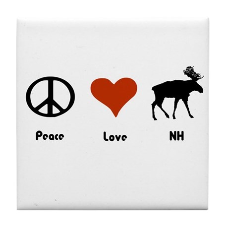 Peace Love New Hampshire Tile Coaster