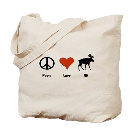 Peace Love New Hampshire Tote Bag