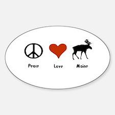 Peace, Love Maine Oval Decal