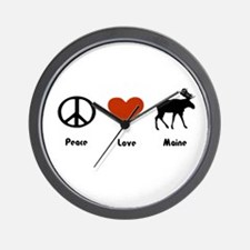 Peace, Love Maine Wall Clock