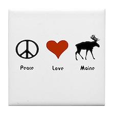 Peace, Love Maine Tile Coaster