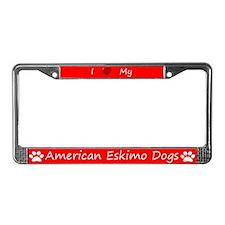 Red I Love My American Eskimo Dogs Frame