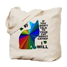 Rainbow Catnip/Paw Print Tote Bag