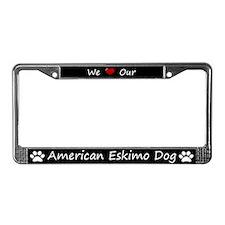 Black We Love Our American Eskimo Dog Frame