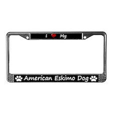 Black I Love My American Eskimo Dog Frame