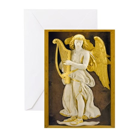 Angel With Golden Harp Greeting Cards (Pk of 20)