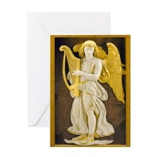 Angel With Golden Harp Greeting Card