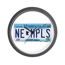 NE Minneapolis License Plate Wall Clock