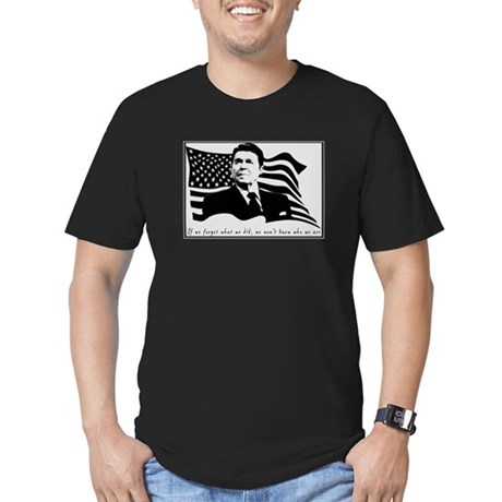 Reagan USA Flag Quote Men's Fitted T-Shirt (dark)