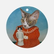 Cat with Doll Ornament (Round)