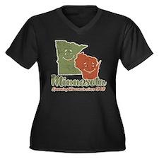 MN: Spooning WI Women's Plus Size V-Neck Dark T-Sh
