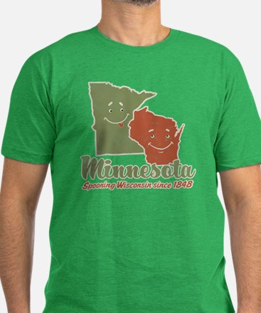 MN: Spooning WI Men's Fitted T-Shirt (dark)