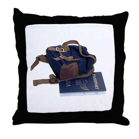 Passport and backpack Throw Pillow