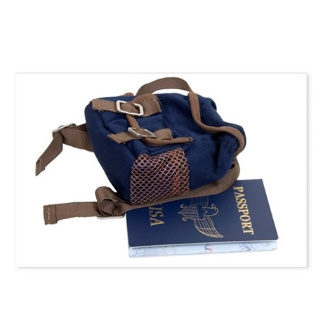 Passport and backpack Postcards (Package of 8)