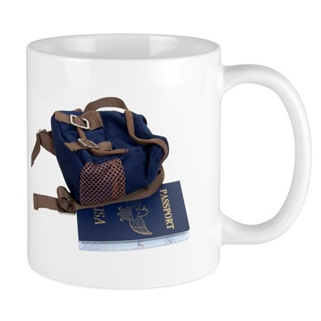 Passport and backpack Mug
