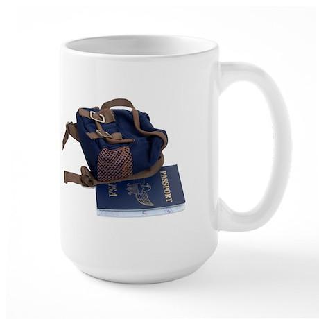 Passport and backpack Large Mug