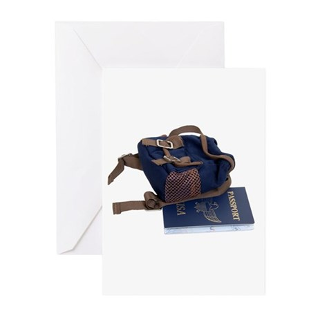 Passport and backpack Greeting Cards (Pk of 20)