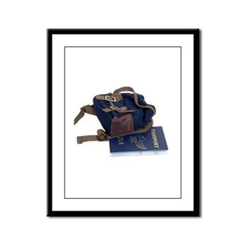 Passport and backpack Framed Panel Print