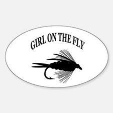GIRL ON THE FLY Oval Decal