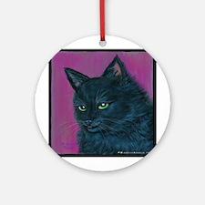 """Black Cat """"Maggie Rose"""" Ornament (Round)"""