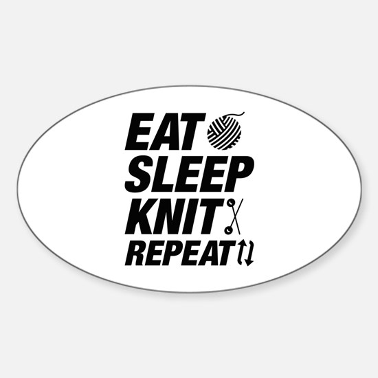 Eat Sleep Knit Repeat Sticker (Oval)