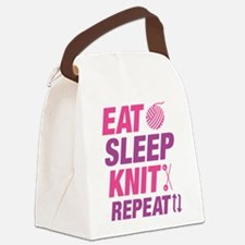 Eat Sleep Knit Repeat Canvas Lunch Bag