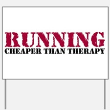 Running therapy red Yard Sign