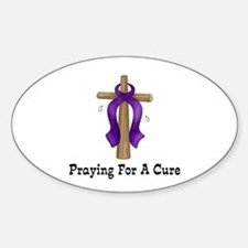 Purple Ribbon Prayer Oval Decal