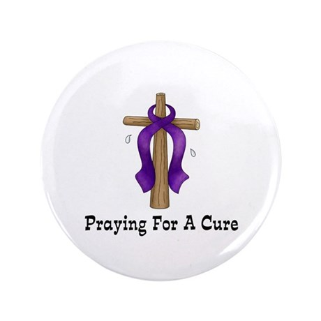 "Purple Ribbon Prayer 3.5"" Button (100 pack)"
