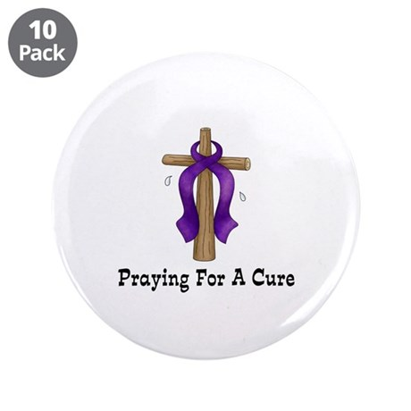 "Purple Ribbon Prayer 3.5"" Button (10 pack)"