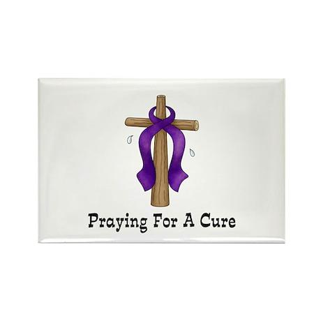 Purple Ribbon Prayer Rectangle Magnet