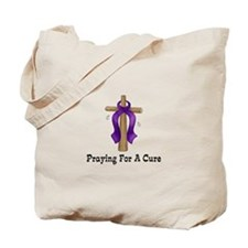 Purple Ribbon Prayer Tote Bag