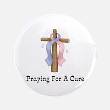 """Pink & Blue Ribbon Prayer 3.5"""" Button"""