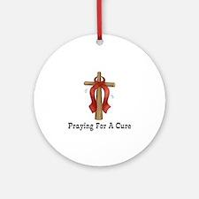 Red Ribbon Prayer Ornament (Round)