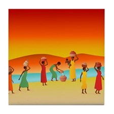 African Women Collecting Water Tile Coaster